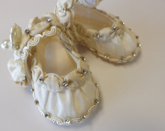 Christening shoes at blanket, Baby girl shoes