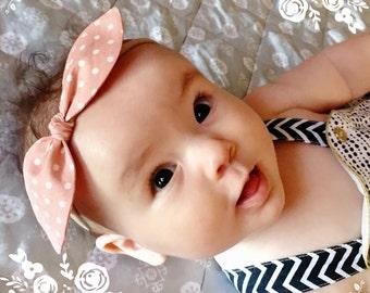 Baby, toddler, newborn, girls nylon pink polka dot bow knot headband accessories