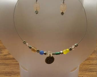 Multi colored choker with earrings