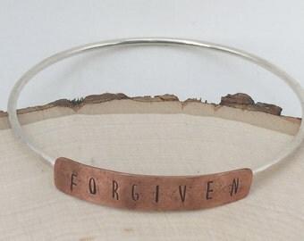 Forgiven Sterling Silver and Copper Bracelet