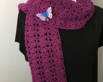 Italian Wool Cranberry Scarf, Crochet Italian Wool Scarf, Handmade Cranberry Scarf, Crochet Neck Warmer, Shell Stitch Cranberry Scarf,