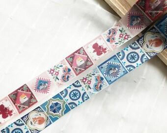 Sample - washi tape samples Helllo Studio RT pink blue square tiles 60cm <D401>