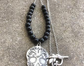 Sugar Skull Necklace, Mexican Sugar Skull, Day of the Dead,Mexican Skull Necklace, Silver Sugar Skull