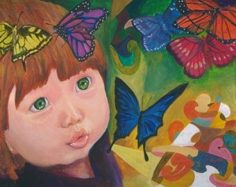 Beautiful baby, Nursery art, Acrylic painting on canvas Giclee print - Blowing butterflies