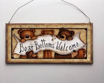 12x6 Bear Bottoms Welcome Home Decor Art Bathroom Sign with Choice of Black Wire or Brown Ribbon for Easy Hanging