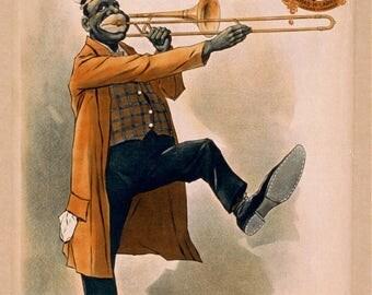 "rare vintage circus poster ""Gorton's Original New Orleans Minstrels 1899"" vintage design-art and collection - fine art reproduction"