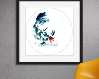 Tancho-Showa Koi watercolor painting print,Giclee print,Digital painting,Wall decor,Wall art,Bird painting,
