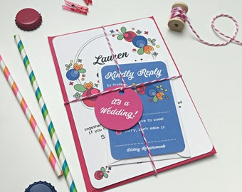 Retro Carnival Wedding Invitation Stationery Suite with RSVP & Tag  - SAMPLE   Elsie Range