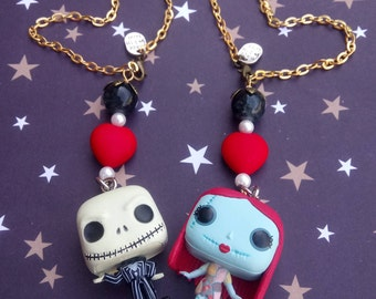 Jack Skellington & Sally COUPLE* Adjustable cross chain Car Rearview Mirror Decor