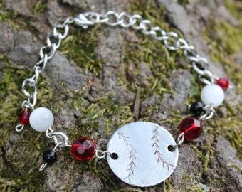 Baseball Mom, Softball Mom, Baseball Bracelet, Baseball Jewelry, Handstamped Jewelry, Softball Bracelet, charm bracelet, baseball love, ball