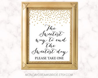 Printable The sweetest way to end the sweetest day Bridal Shower Sign Gold Glitter Confetti, Bridal Shower Sign Wedding BRS1A SN003