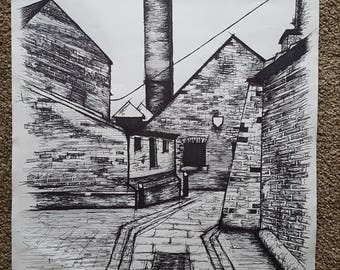 Industrial Mill- Ink on Paper