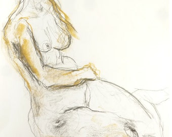 Female nude, original drawing from pastel, pencil and charcoal, light sexy pose in the Studio