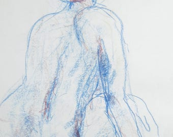 Original nude drawing of pastel chalk, nude in the Studio, body drawing sketch, female nude on white paper A2