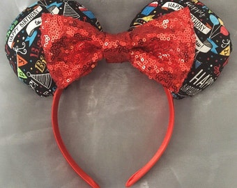 Happy Birthday Mickey or Minnie Ears! Handmade Sewn & Stuffed- Fits Child to Adult