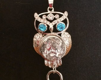 Owl Snap pendant necklace with snap button