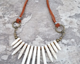 Magnesite Tusks and Leather Native American Necklace 32