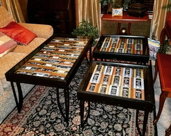 VHS Tape Coffee and Side Table Set of 3