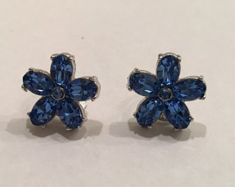 Super Cute Clip on Earrings Royal Blue Flower Perfect for your Little Girl!