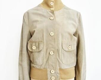 Vintage reindeer bomber jacket Lady leather jacket