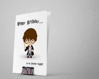 Harry Potter Birthday Card... Birthday Card / Happy Birthday Card / Greeting Card / Card for Kid / Potter Birthday Card / Muggle Birthday