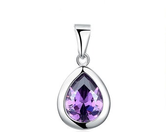 sterling silver purple teardrop key pendant charm for necklaces