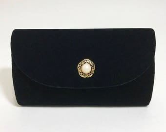 Black Velvet Clutch with Pearl Brooch Closure