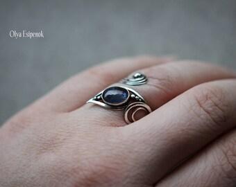 Silver ring Adjustable ring Kyanite gemstone Kyanite jewelry Sterling silver Wire wraped ring Silver wire Silver flower Metal flower