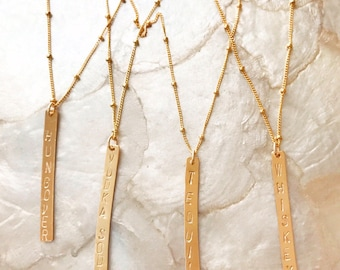 Bar Necklace: vertical gold fill bar necklaces, drink necklace, tequila, vodka soda, whiskey, hungover, beach luxe, stamped necklace