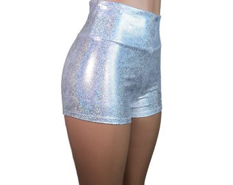 Hologram Silver Metallic High Waisted Booty Shorts - club or rave wear - Crossfit - Running - Roller Derby