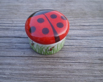 Small tooth 3.8 cm porcelain hand painted Ladybug box