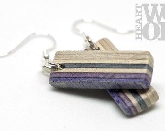 Recycled skateboard drop earrings