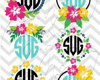 Flower Monogram svg, 6 floral monogram svg, flower svg, hibiscus monogram svg, monogram cut file, hawaii flower svg, commercial use OK,