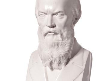 Russian Writer Fyodor Dostoyevsky / Dostoevsky Marble Bust / Statue 14cm (5.5'') white
