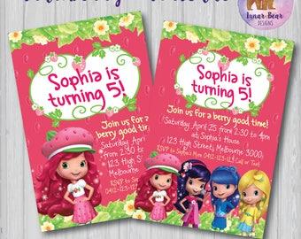 Strawberry Shortcake Invitation, Strawberry Shortcake Invite, Strawberry Shortcake Party, Strawberry Shortcake Birthday Party, Printable