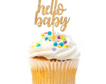 12 CT Glitter Hello Baby Cupcake Topper Calligraphy Cursive Script Baby Shower Cupcake Topper Glitter Baby Shower Decoration Baby Girl Boy