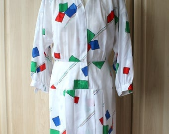 Vintage White Geometric Shapes Dress with Sleeves and Shoulderpads Leslie Fay US Size 8 / Uk/Aus/NZ Size 12 D9