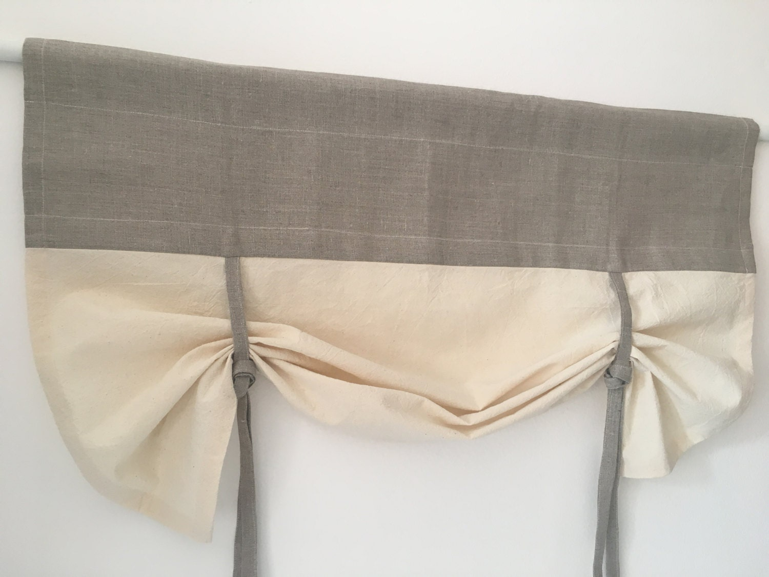 Linen Curtains Cottage Kitchen Tie Up Valance Simple Rustic