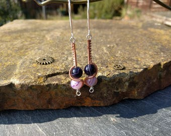Purple Agate Wire Wrapped Earring In Copper and Sterling Silver