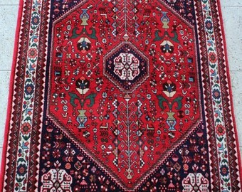 153 x 105 cm (5 x 3.4 ft) Abadeh, vintage carpet, Persian rug, hand made oriental rug, hand knotted, old, wool.