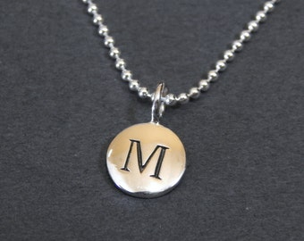 Sterling Silver Letter M Pendant Necklace Disc Charm Necklace