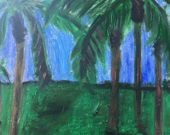 Palm trees oil on board