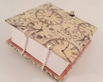 Small Handmade Coptic-bound Notebook Vintage Clocks Decoupage Covers