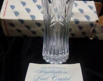 Vintage New  Leaded Crystal Vase by Highlights