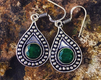 The Godiva Earrings - Raw emerald silver droplet earrings
