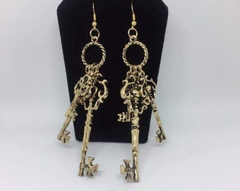 Antique Gold Keys, Earrings