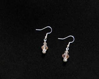 Simple pink crystal dangle earrings