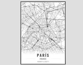 Paris Map Art Print, Poster Map of Paris Decor, Paris City Map Art, Paris Gift, Paris France Art Poster