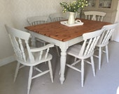 Shabby Chic Farmhouse Table And ChairsNOW SOLD Shabby Chic  Kitchen Dining Table And 6 ChairsFarmhouse Dining Set