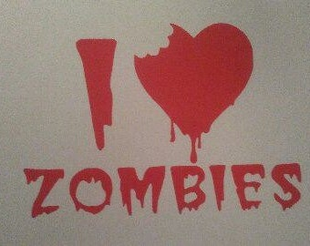 I Love Zombies Vinyl Decal #1-012